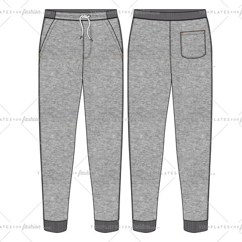 SWEATPANT WITH RIB WAISTBAND FASHION FLAT VECTOR FILE