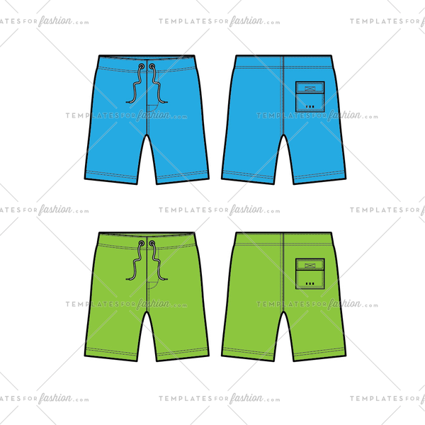 Men's Swim Shorts Fashion Flat Templates