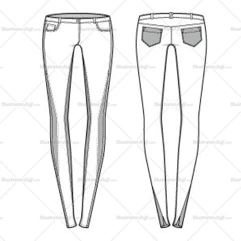 Women's Seamed Skinny Jeans Fashion Flat Template