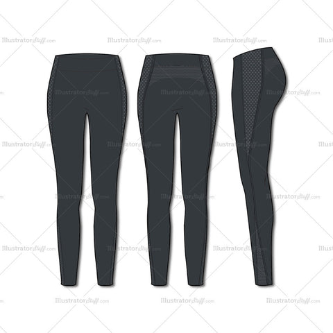Women's Fashion Seamless Sport Legging Flat Template
