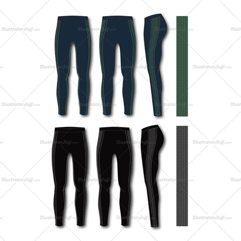 Men's Fashion Seamless Sport Legging Flat Template