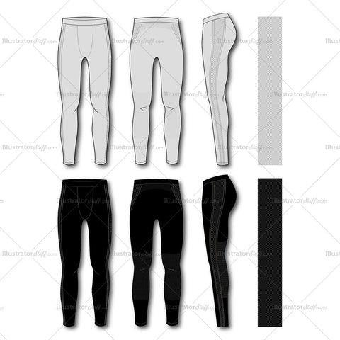 Men's Fashion Seamless Sport Legging Flat Template.