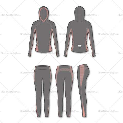 Women's Fashion Seamless Sport Top And Legging Flat Template