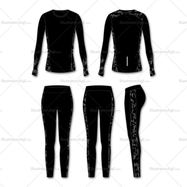 Women's Fashion Seamless Sport Top And Legging Flat Template.