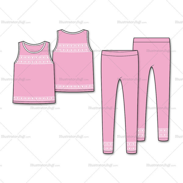 Girl's Fashion Seamless Tank And Legging Flat Template.