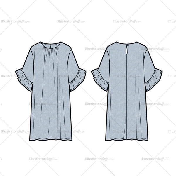 Shift Dress With Flutter Sleeves Flat Template