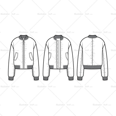 Shirred Bomber Jacket Flate Template