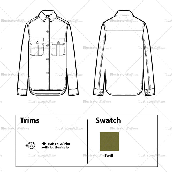 shirt jacket flat template � templates for fashion