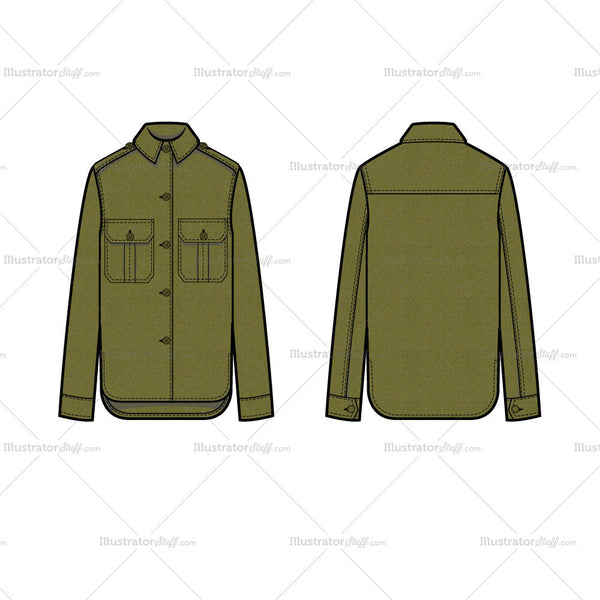 Shirt Jacket Flat Template
