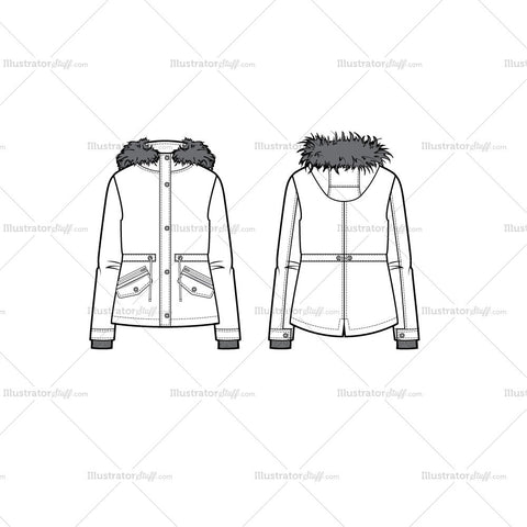 Short Hooded Parka Flat Template