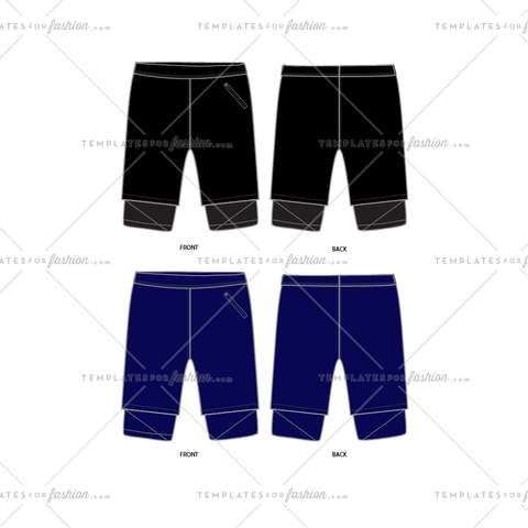 Men's Shorts with Tights Fashion Flat Templates