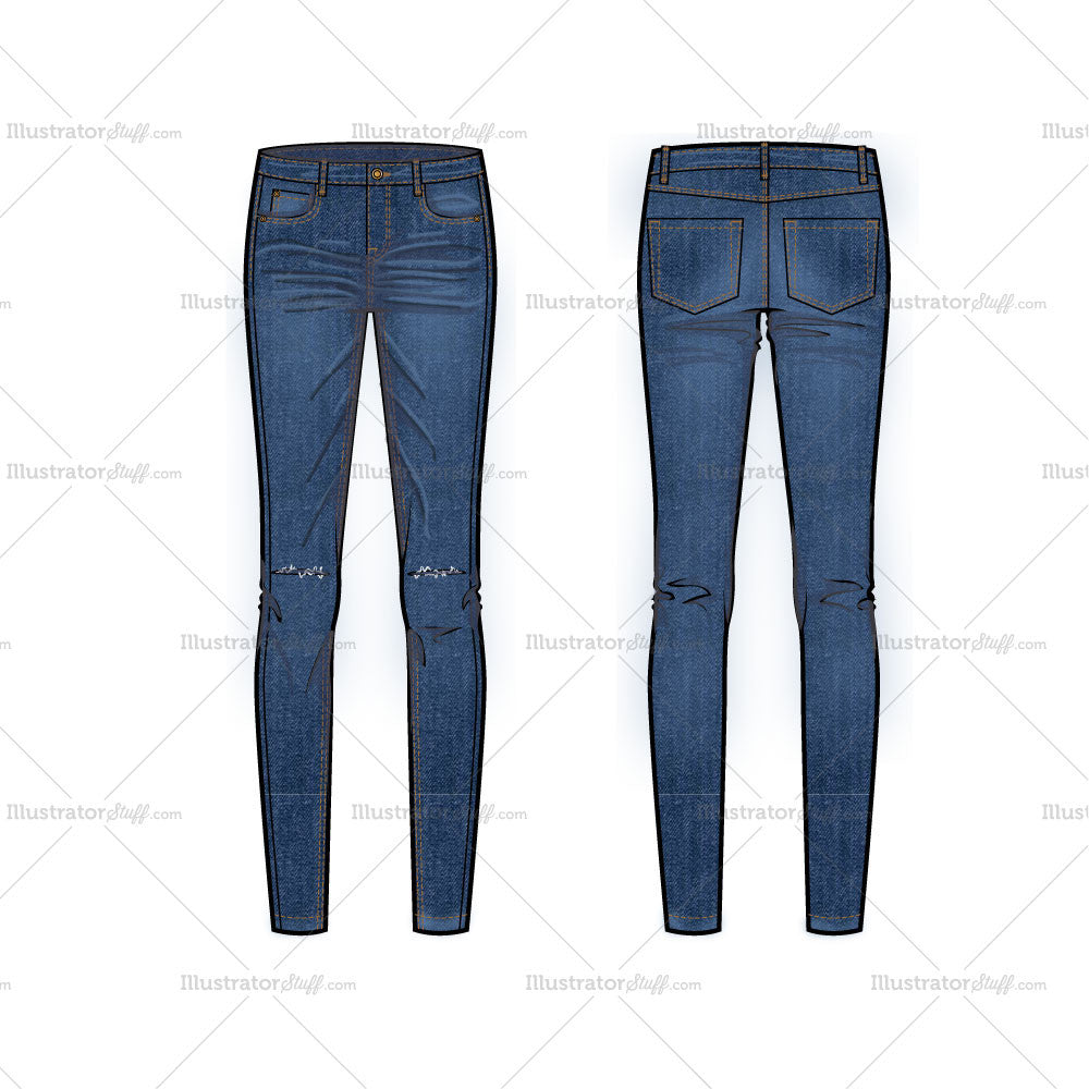 Skinny Jeans With Knee Slits Flat Template Illustrator Stuff