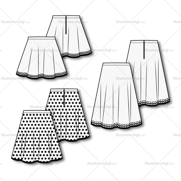 Women's Skirt Fashion Flat Template.