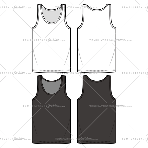 SLEEVELESS TEE fashion flat sketch template