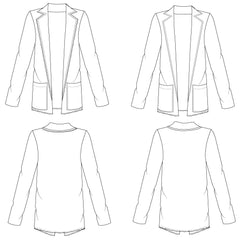 Women's Slouchy Blazer Fashion Flat Template