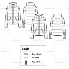 Women's Small Light Puffer Jacket Flat Template