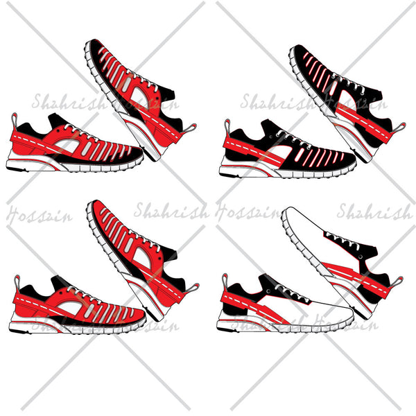 Athletic Sneaker Fashion Flat Template