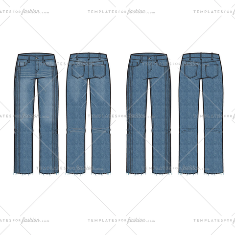 Women's Straight Leg Crop Raw Edge Jeans with Pin tucks