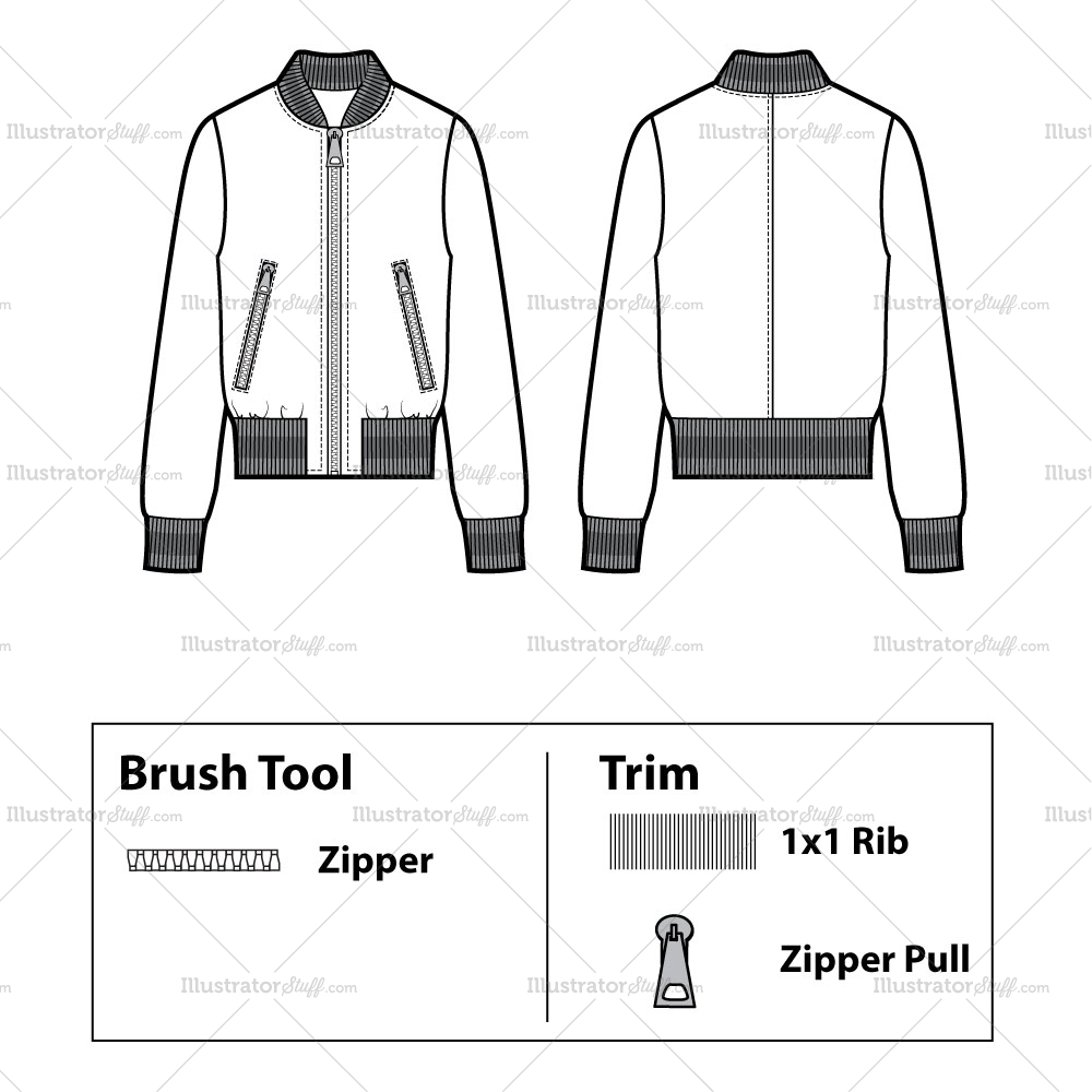 unisex striped ribbing bomber flat template templates for fashion