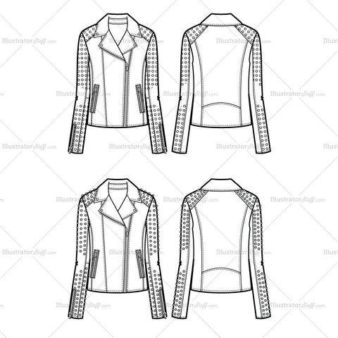 Studded Sleeve Moto Jacket Flat Template