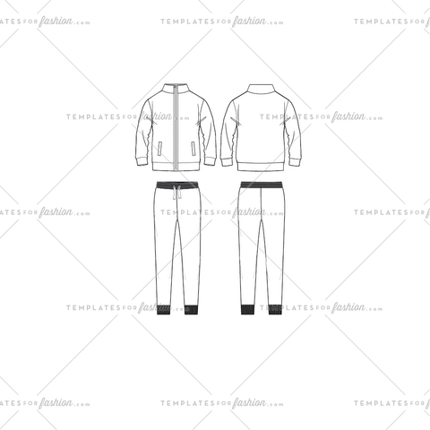 Sweat Suit Fashion Flat Template