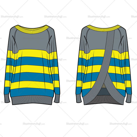 Women's Fashion Striped Sweater Flat Template