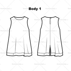 Sleeveless Swing Top Flat Template