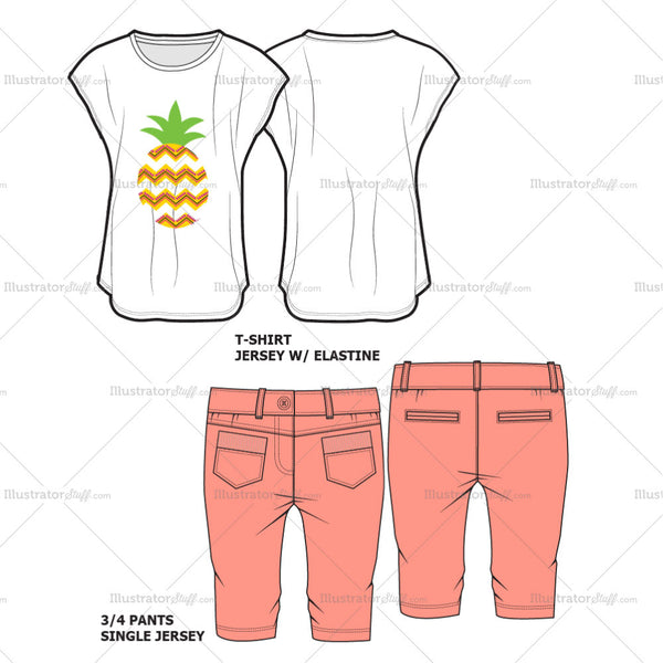Girls T-shirt set Fashion Flat Template