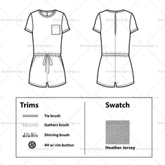 Short Sleeve T-shirt Romper Flat Template And Cad