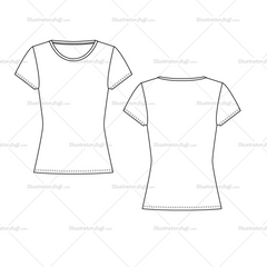 Women's T-shirts, Regular, Oversize And Slim Fit Fashion Flat Template