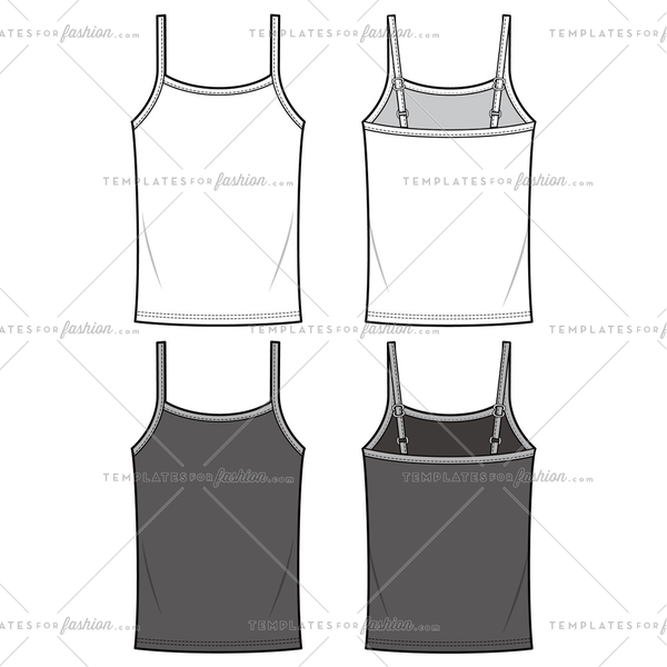 TANK TOP fashion flat sketch template
