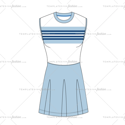 TENNIS SKORT AND TOP FASHION FLAT VECTOR FILE