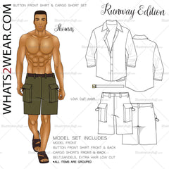 Male Brown Tone Runway Model Fashion Croquis Template