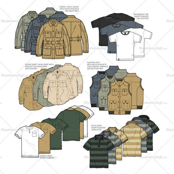 Men's Hunting Collection Fashion Flat Template Set