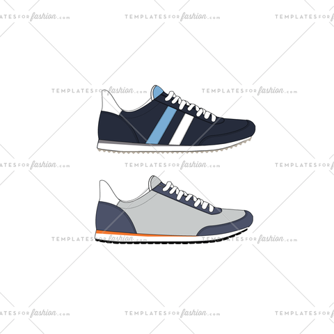TRAINER SHOE FASHION FLAT VECTOR TEMPLATE