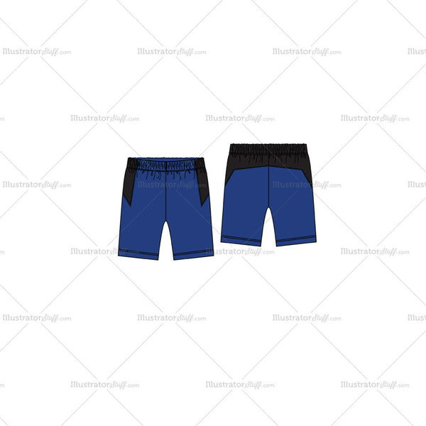 Men's Training Shorts Fashion Flat Template