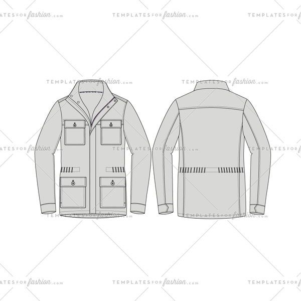 Men's Traveler Jacket Fashion Flat Vector Template