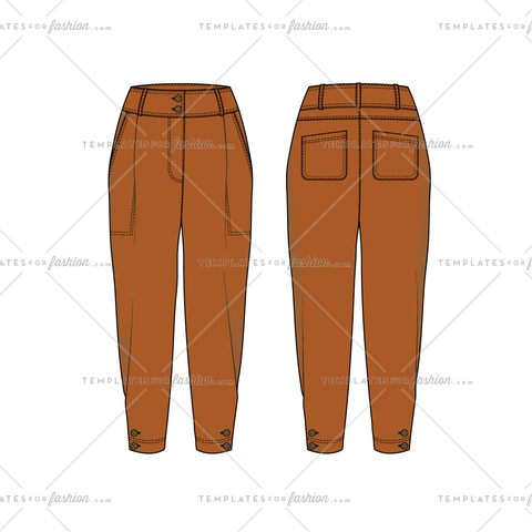 Women sketch of modern style high waisted trousers
