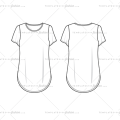Women's sketch of a T-shirt Tee Shirt with a Curved Hem Variety