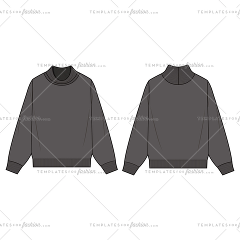 TURTLENECK SWEATSHIRTS Fashion Flat Templates