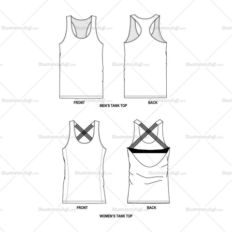 Tank Tops Men & Women Fashion Flat Template