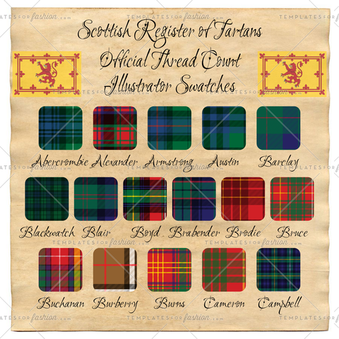 Scottish Register of Tartan Thread Count Illustrator Swatches Pack 1