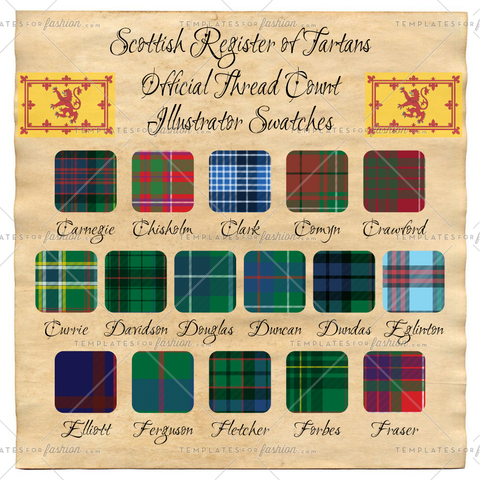 Scottish Register of Tartan Thread Count Illustrator Swatches Pack 2