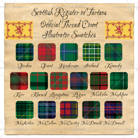 Scottish Register of Tartan Thread Count Illustrator Swatches Pack 3