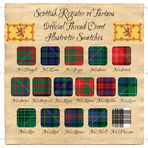Scottish Register of Tartan Thread Count Illustrator Swatches Pack 4