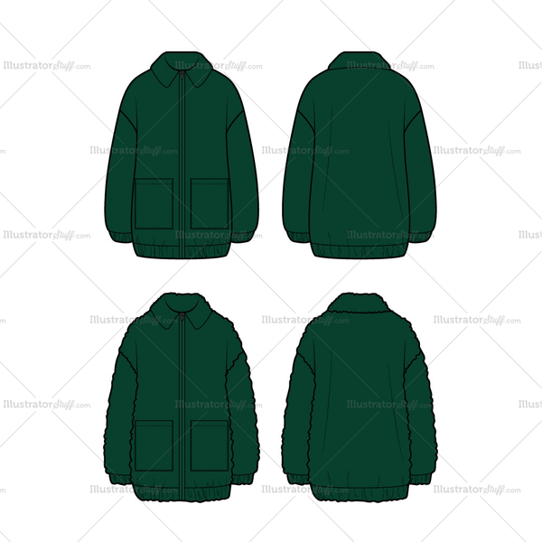 Women's Teddy Bomber Flat Template