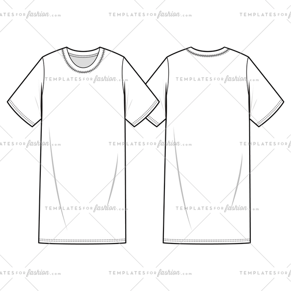 TEE SHIRT DRESS fashion flat sketch template