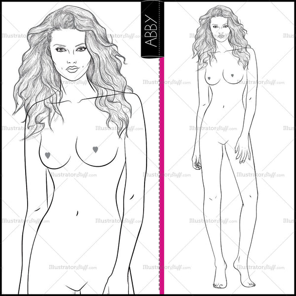 "Premium ""runway"" Fashion Croquis Figure Template ""abby"""