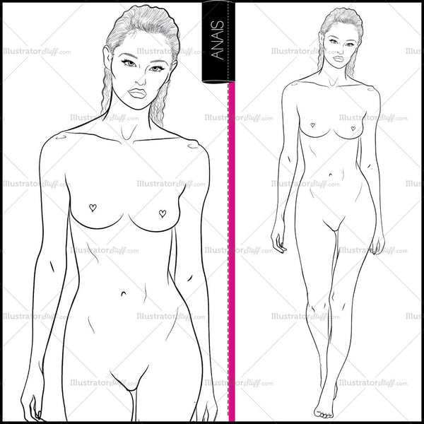 "Premium ""runway"" Fashion Croquis Figure Template ""anais"""