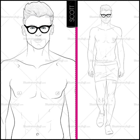 Male Runway Croquis Template: Scott